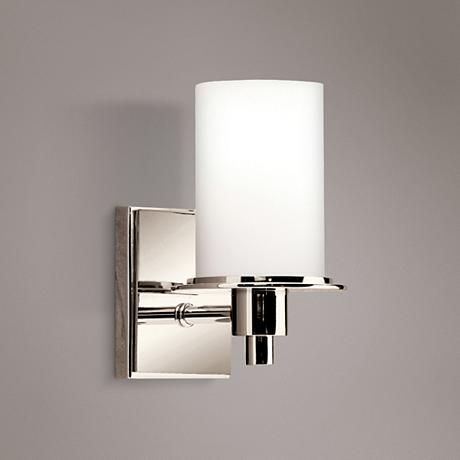 """Polished Nickel and Etched Glass 8 1/2"""" High Wall  http://www.lampsplus.com/products/polished-nickel-and-etched-glass-8-and-one-half-inch-high-wall-sconce__95462.html Sconce"""