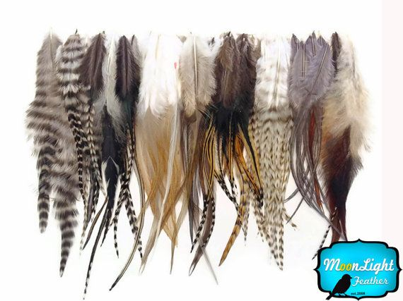 Wholesale Feathers, 100 Pieces – Wholesale NATURAL TONE Short Rooster Hair Extension Feathers (bulk) : 3106