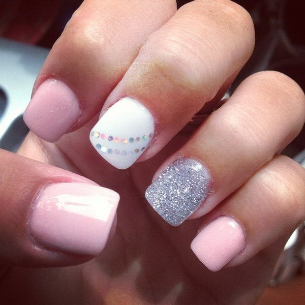 Baby Pink, White and Silver Short Nail Design with A Bit of Sequins for Detail. More