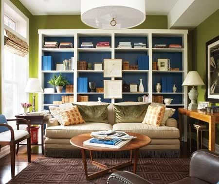 green wall, blue backed bookcases: Wall Colors, Bookshelves, Colors Combos, Bookcases, Idea, Living Rooms, Green Wall, Billy Bookca, House