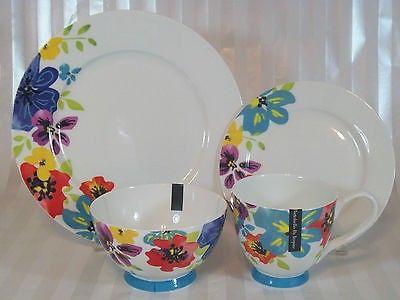 24 PORTOBELLO Inspire BONE CHINA White Floral Dinner Set Plates ...