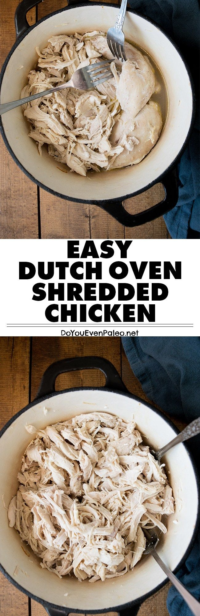 Need plain shredded chicken for a recipe? Make it quick with this plain dutch oven shredded chicken. Ready in about 30 minutes! | DoYouEvenPaleo.net