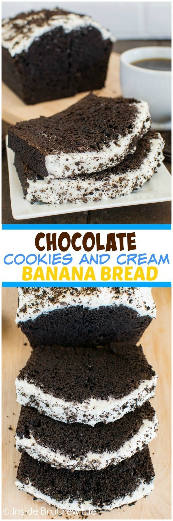 Chocolate Cookies and Cream Banana Bread - cookie chunks and frosting make this banana bread a fun and decadent breakfast recipe.