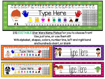 Bring The Force to your classroom with these cute, editable name plates! 252 name plates to choose from 192 come with alphabet lines, a number line from 1-20, 9 2D shapes with their names and color words, a hundreds chart, labelled left and right hands and a place for the students' names.