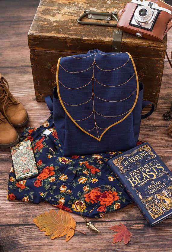 Navy Leaf Midi Backpack Woman's Backpack Waterproof
