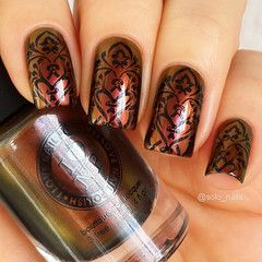 Stamping Nail art using MoYou-London - Gothic 11, nice fall manicure