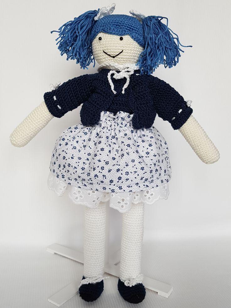 Crochet doll Anulka. Lalka zrobiona na szydełku Anulka. hand made dolls cotton crochet toy gift girl lalki szydełko zabawka ręczna praca ręczne robótki bawełna