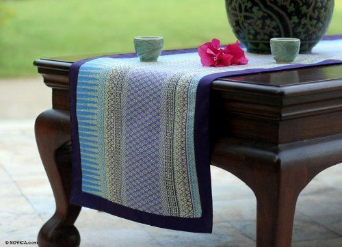 Silk And Cotton Table Runner, U0027Radiant Skyu0027 By NOVICA. $94.99. Do