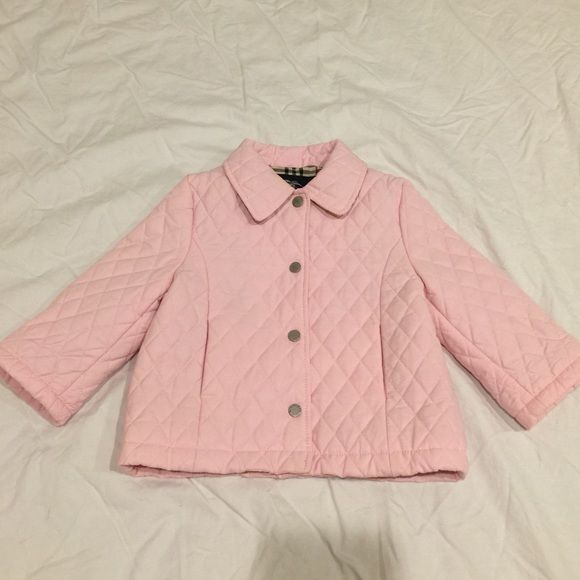 Infant pink Burberry quilted jacket 12m Infant pink Burberry quilted jacket 12m gorgeous !!!!! It does need to be cleaned but it is in overall good condition !!! Burberry Jackets & Coats