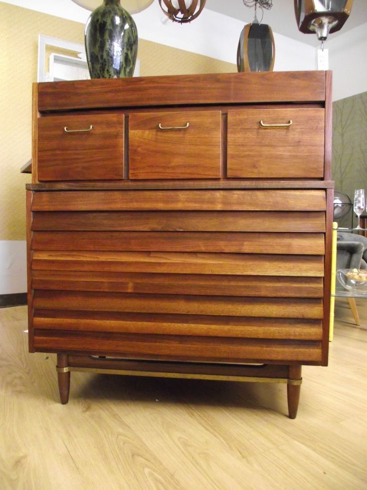 American Of Martinsville Walnut Highboy Chest Of Drawers