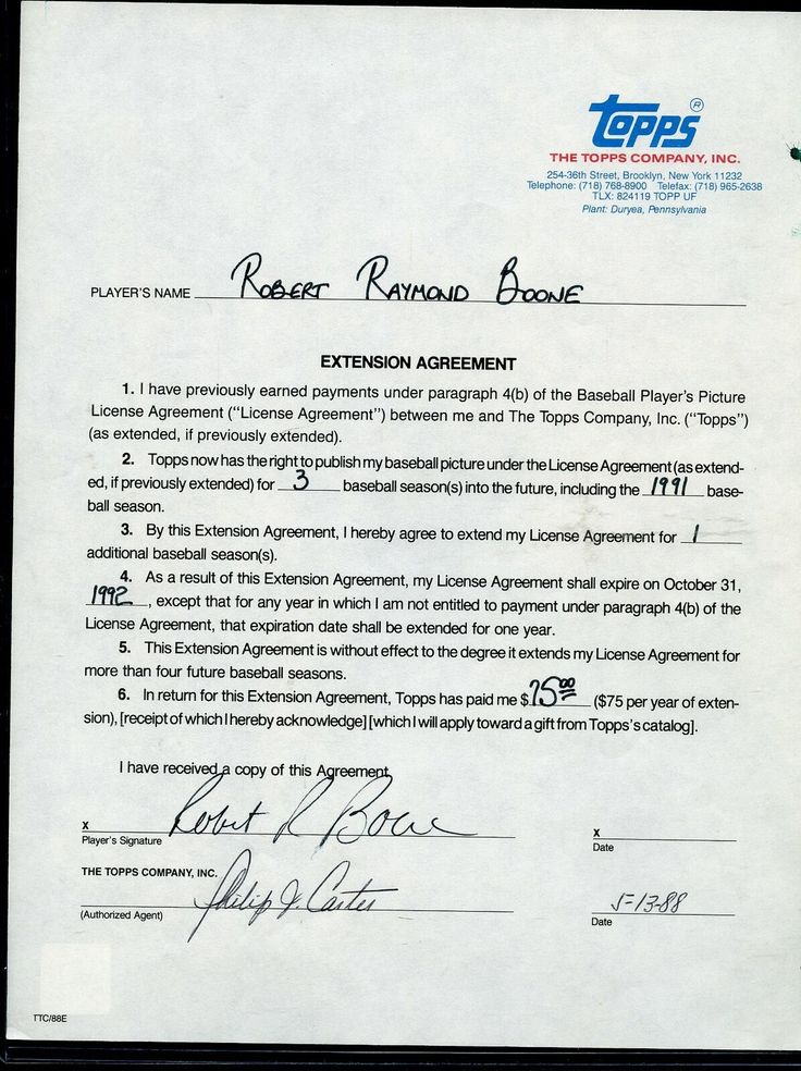 1988 topps autographed baseball card contract bob boone