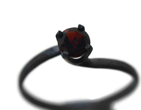 Oxidized Garnet Ring, Natural Gemstone, Gothic Engagement Ring, Minimalist Ring, Black and Red Jewelry