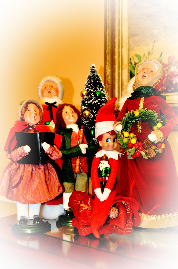 Christmas caroling with byers choice carolers