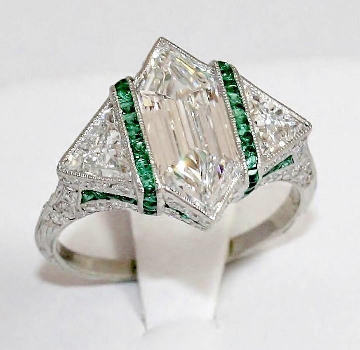 Art Deco 2ct Rare Modified Hexagonal Platinum Diamond Ring w Emerald Accents