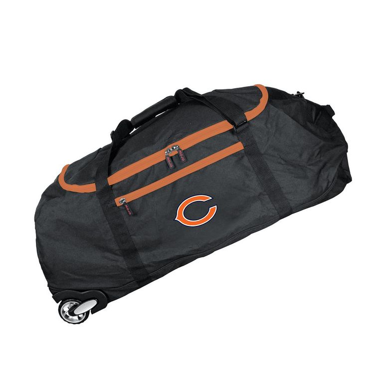 NFL Chicago Bears 36 in. Checked-In Rolling Duffel in Black