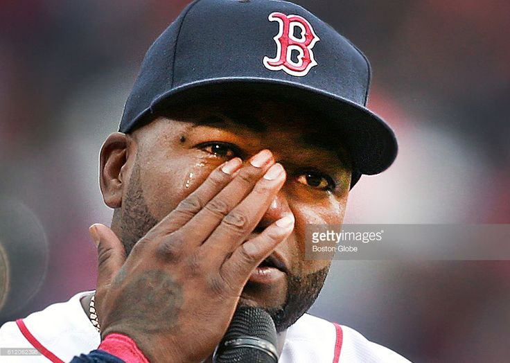 As he spoke to the fans before the game, Boston Red Sox designated hitter David Ortiz tears up as he remembers his late mother. The Boston Red Sox hosted the Toronto Blue Jays in the final MLB game of the regular season at Fenway Park in Boston on Oct. 02, 2016. It was also the final regular season game for retiring Ortiz.
