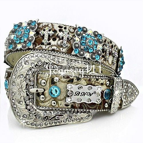 Women Western BHW Belt Blue Berry Cross LEATHER Scroll Cowgirl Rodeo Rhinestone  #BHW