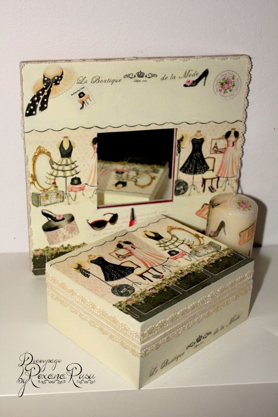 Decoupage box  mirror and candle  moderne women  by ByRoxanaRusu