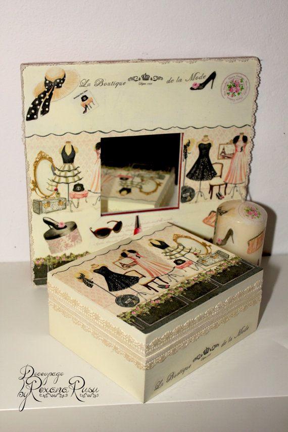 Decoupage box  mirror and candle  moderne women  by ByRoxanaRusu