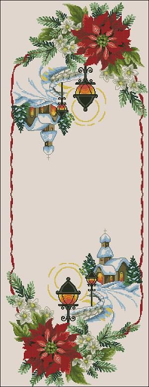 Cross-stitch pattern for Christmas table runner Decorate your Christmas table this magnificent cross-stitch table runner! Pattern Name: Chrisrmas table runner Fabric: Aida 14, Platinum 190w X 514h Stitches Size(s): 14 Count, 34.47w X 93.25h cm 11 Count, 43.87w X 118.69h cm 16 Count, 30.16w X 81.60h cm 18 Count, 26.81w X 72.53h cm Colors: 23 …
