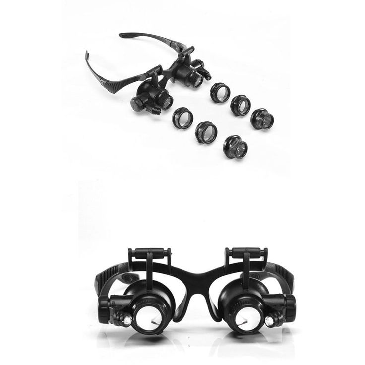 New LED Magnifier Double Eye Jeweler Watch Repair Magnnifying Glasses Loupe tool #Unbranded