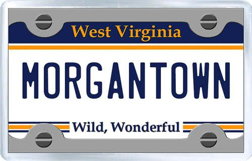 $3.29 - Acrylic Fridge Magnet: United States. License Plate of Morgantown West Virginia