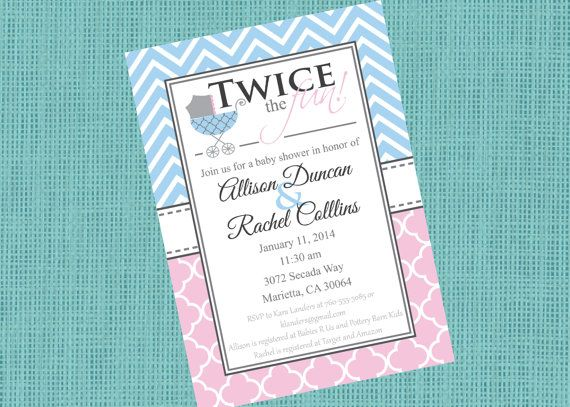 Double Baby Shower Invitation - Gender Neutral Baby Shower Invitation - 5x7 - Printable