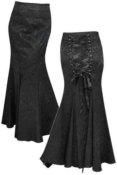 This black gothic skirt is made from a black jacquard with some stretch. The skirt has a mermaid silhouette hugging the thighs and flaring from the knee.