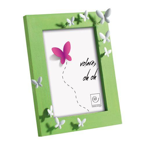 PORTAFOTO A366 - portafoto 'butterflies' in legno con farfalle in metallo - wooden photo frame with metal butterflies - 13x18 - FELIX DESIGN