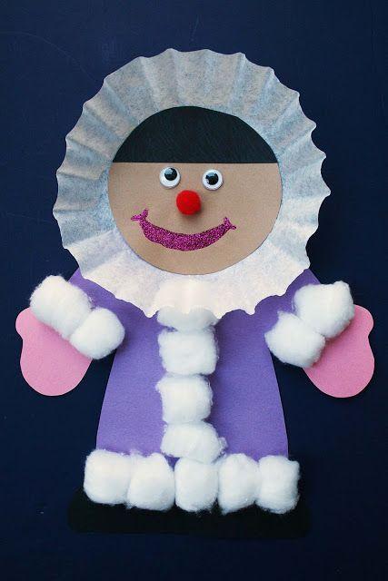 Cute eskimo craft! Coffee filter, cotton balls and construction paper.