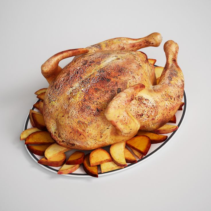 3d model roasted chicken potatoes