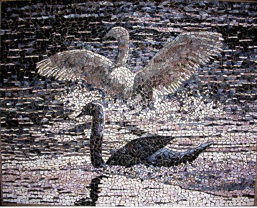 """mosaico-106 """"Cisnes I """"  (01-10-2009)   (71 x 58cm.)"""