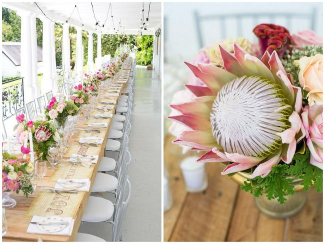 Wedding Decor: Outdoor Spring Tablescape:  Protea, Tulips, Queen Annes Lace Flowers / Totally Gorgeous Glitter Blush Pink Gold South African Wedding / Adene Photography /