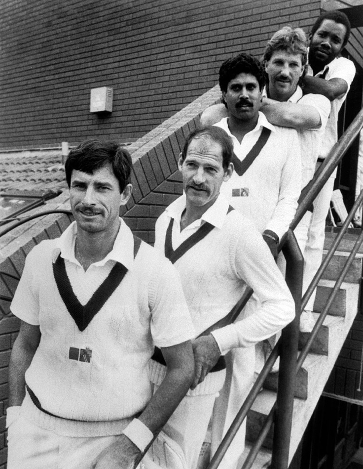 Queue of greats: Richard Hadlee, Clive Rice, Kapil Dev, Ian Botham, Malcolm Marshall. Taunton, Somerset, 1984.