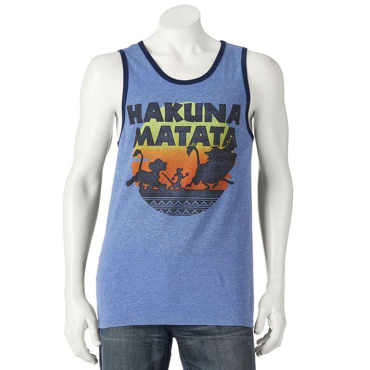 Men's Disney's The Lion King Hakuna Matata Tank Top, Size: Medium, Blue (Navy)