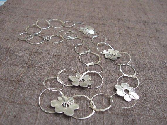 Sterling zilveren ketting handgemaakte ringen en bloemen
