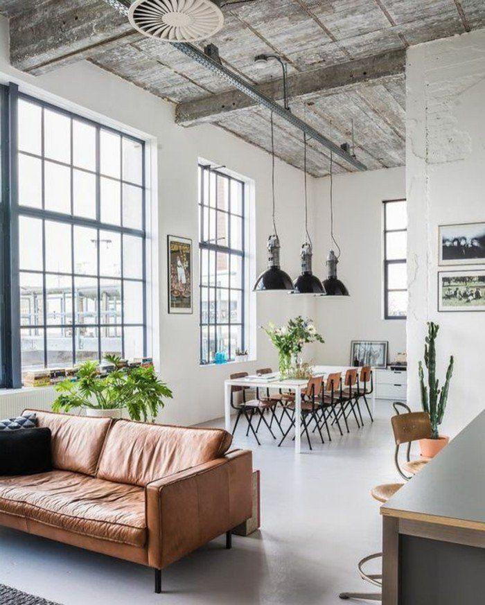 amnager salon salle manger intrieur industriel canap en cuir marron lampes noires