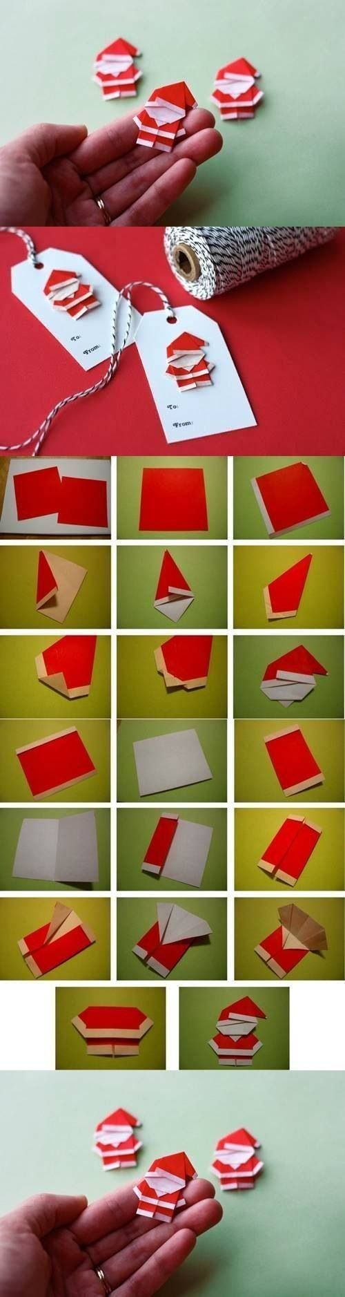 DIY Cute Paper Origami Santa Claus Kawaii Style Japamn Paper Art  Contemporary Christmas Gift Tag Or Card Design