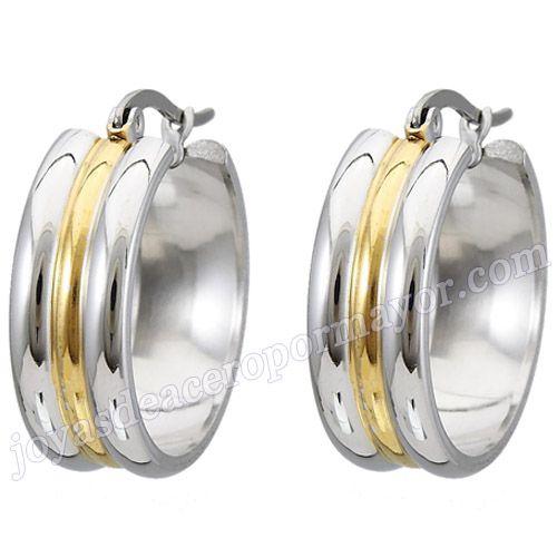 Material:Acero Inoxidable     Nombre:Onda aretes enchapado oro de acero inoxidable de 23mm para dama   Model No.:SSEG096   Talla:23mm