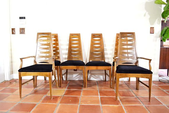 Mid Century Dining Chairs Ladder Back Cat Eye Shape Set Of 6