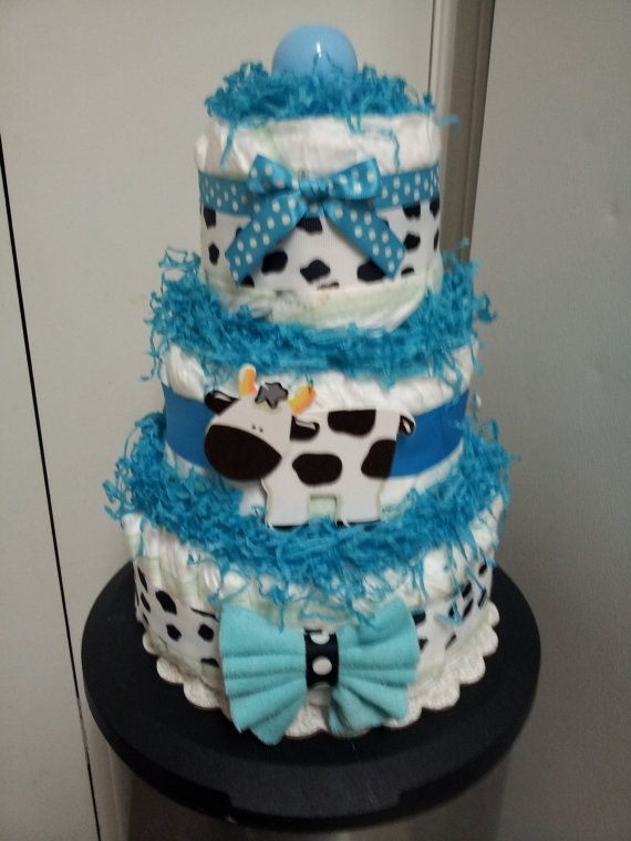 COW 3 tier diaper cake great for baby shower by diapercake4less, $35.00