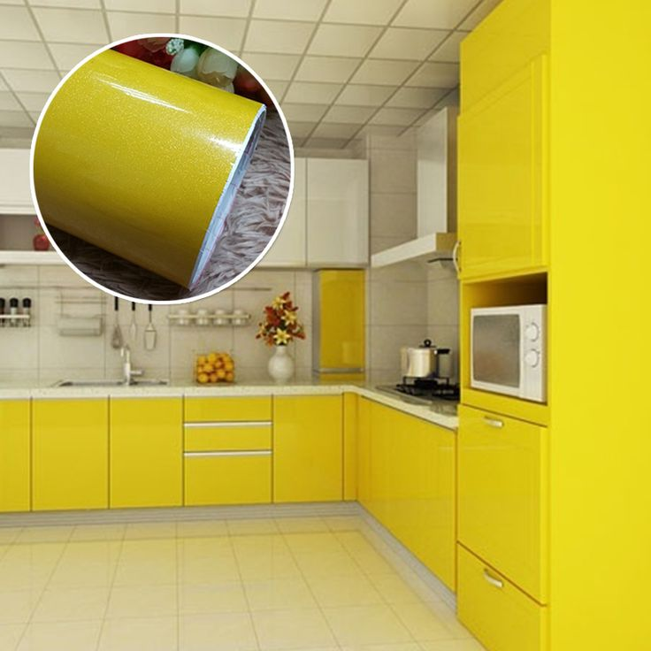 0.6*3M Yellow Paint Vinyl Self Adhesive Wall Papers Roll For Bathroom  Kitchen Stickers Foil