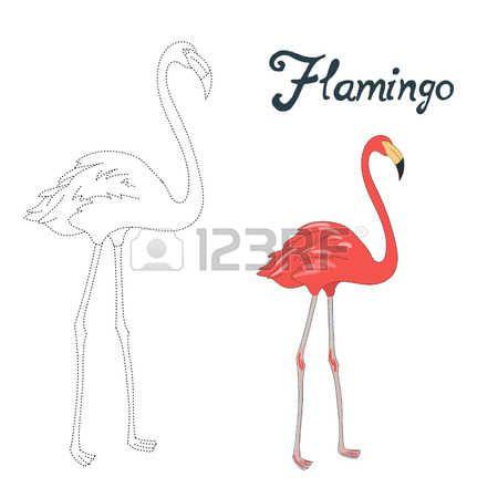 Jeu �ducatif relier les points de tirer oiseau flamant doodle anim� la main illustration vectorielle dessin�e photo