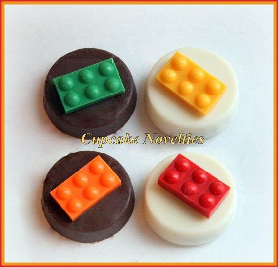 Buy online on Etsy! Custom Lego themed Chocolate covered Oreos Cookies! Perfect as dessert or party favors for your Lego birthday party, baby shower or a fun blocks & bricks themed classroom party! Delicious Chocolate-covered Oreos come topped with handmade chocolate blocks! (Color of the blocks and base can be customized)