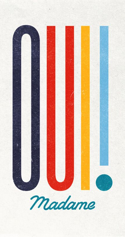 Eye-catching use of colors and enlongated type.