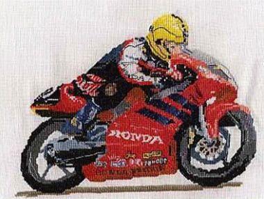 Joey Dunlop motorcycle cross stitch kit