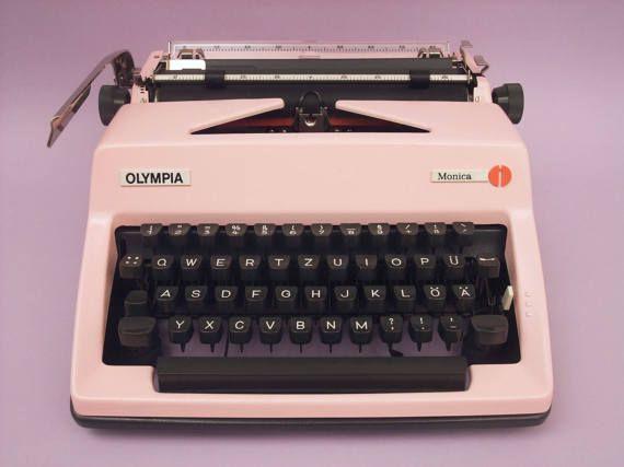 Pink Typewriter Olympia Monica Vintage by SimplyModernGoods