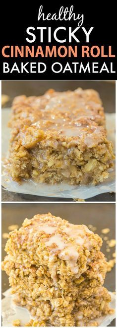 Healthy Sticky Cinnamon Roll Baked Oatmeal- Easy, delicious and a hit with everyone, this is the perfect breakfast or healthy snack which can be prepped in advance! You'd never believe it's so healthy! {vegan, gluten-free, dairy-free recipe + high protein option!}- thebigmansworld.com