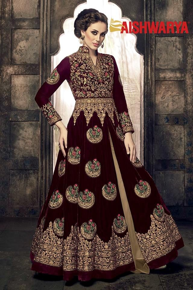 Be the stylish bride dressed in this ravishing wine colored lehenga. Buy lehenga choli online - http://www.aishwaryadesignstudio.com/astounding-wine-beige-lehenga-choli