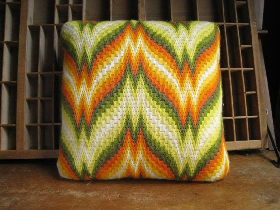 Vintage Bargello Pillow Green and Orange Flame Stitch Needlepoint 1970s Decor